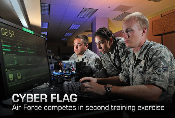 2nd Lt. Stephanie Stanford, 90th Information Operations Squadron cyber development lead, Staff Sgt. Aaron Wendel, 90th IOS cyber network technician, and Senior Airman Brett Tucker, 90th IOS cyber systems operator, perform cyber operations Aug. 1 at Lackland Air Force Base, Texas. (U.S. Air Force photo by Boyd Belcher)