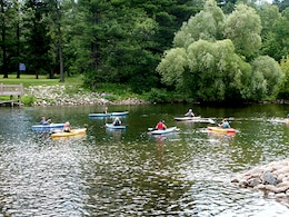 Kayakers enjoy the recreation area along the Pine River, downstream of Cross Lake. The St. Paul District operates 49 recreation areas, ranging from public landings along the Mississippi River to lock and dam visitor centers to full-service campgrounds. These recreation areas are an important component of the region's tourism industry, and the impact on the local and regional economies is significant.