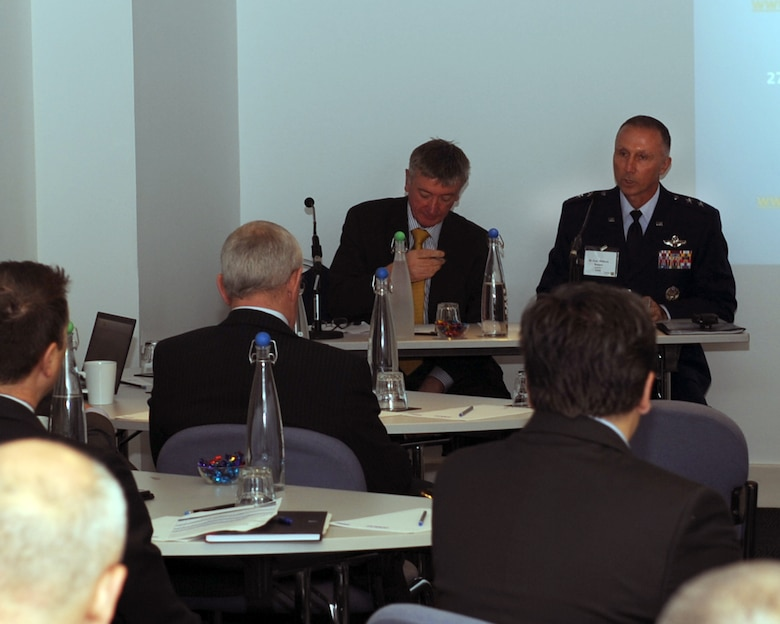 Maj. Gen. William Bender, U.S. Air Force Expeditionary Center commander, addresses representatives from NATO and the U.S. at a conference in London, Sept. 26, 2012. Key topics of discussion focused on ways to more effectively conduct military airlift operations. The general elaborated on the future of the C-130J Super-Hercules program, the KC-46 fleet and how NATO and the U.S. could ill afford to throw teamwork by the wayside. Additionally, Bender made a site visit to RAF Mildenhall's 727th Air Mobility Squadron, a tenant unit there under his chain of command. (U.S. Air Force photo/2nd Lt Christopher Mesnard)