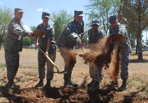 Participants in the groundbreaking ceremony for the new dorm were (L to R): Tech. Sgt. Matthew Smith, Airman 1st Class Samantha Crenshaw, Command Chief Master Sgt. Paul Henderson, Airman 1st Class Andrew Athanasiadis, and Airman 1st Class Kyle Riess.