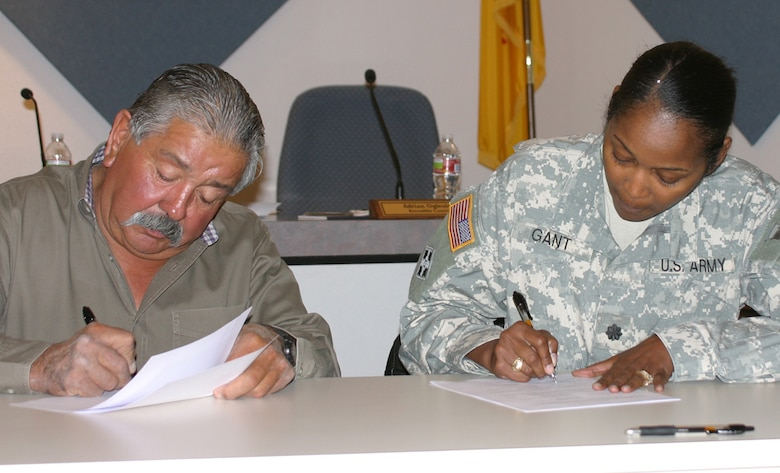 By signing the cost-sharing agreement, the Corps' and MRGCD commit to a feasibility study to construct a 50-mile stretch of levees.