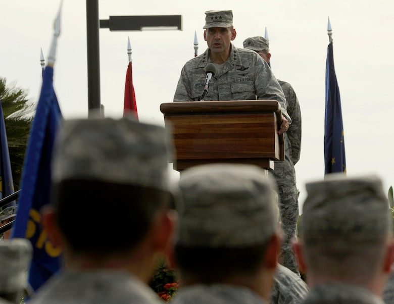 Lt. Gen. Stanley T. Kresge, former 13th Air Force commander, delivers a speech during the 13th Air Force inactivation ceremony Sept. 28, 2012, at Joint Base Pearl Harbor-Hickam, Hawaii. The 13th Air Force was PACOM's operational component headquarters and has been consolidated into Pacific Air Forces at JBPH-Hickam, Hawaii. (U.S. Air Force photo/Tech. Sgt. Matthew McGovern)