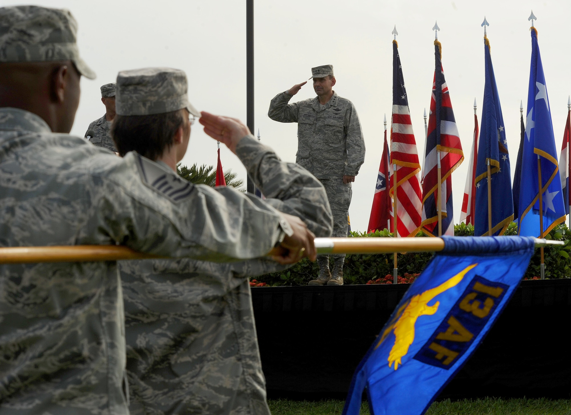 Lt. Gen. Stanley T. Kresge, renders his final salute as the commander of 13th Air Force during the 13th Air Force inactivation ceremony Sept. 28, 2012, at Joint Base Pearl Harbor-Hickam, Hawaii. Kresge has been selected to serve as the vice commander of Pacific Air Forces, JBPH-Hickam. The 13th Air Force inactivated after seventy years of continuous service in the Pacific region. (U.S. Air Force photo/Tech. Sgt. Matthew McGovern)
