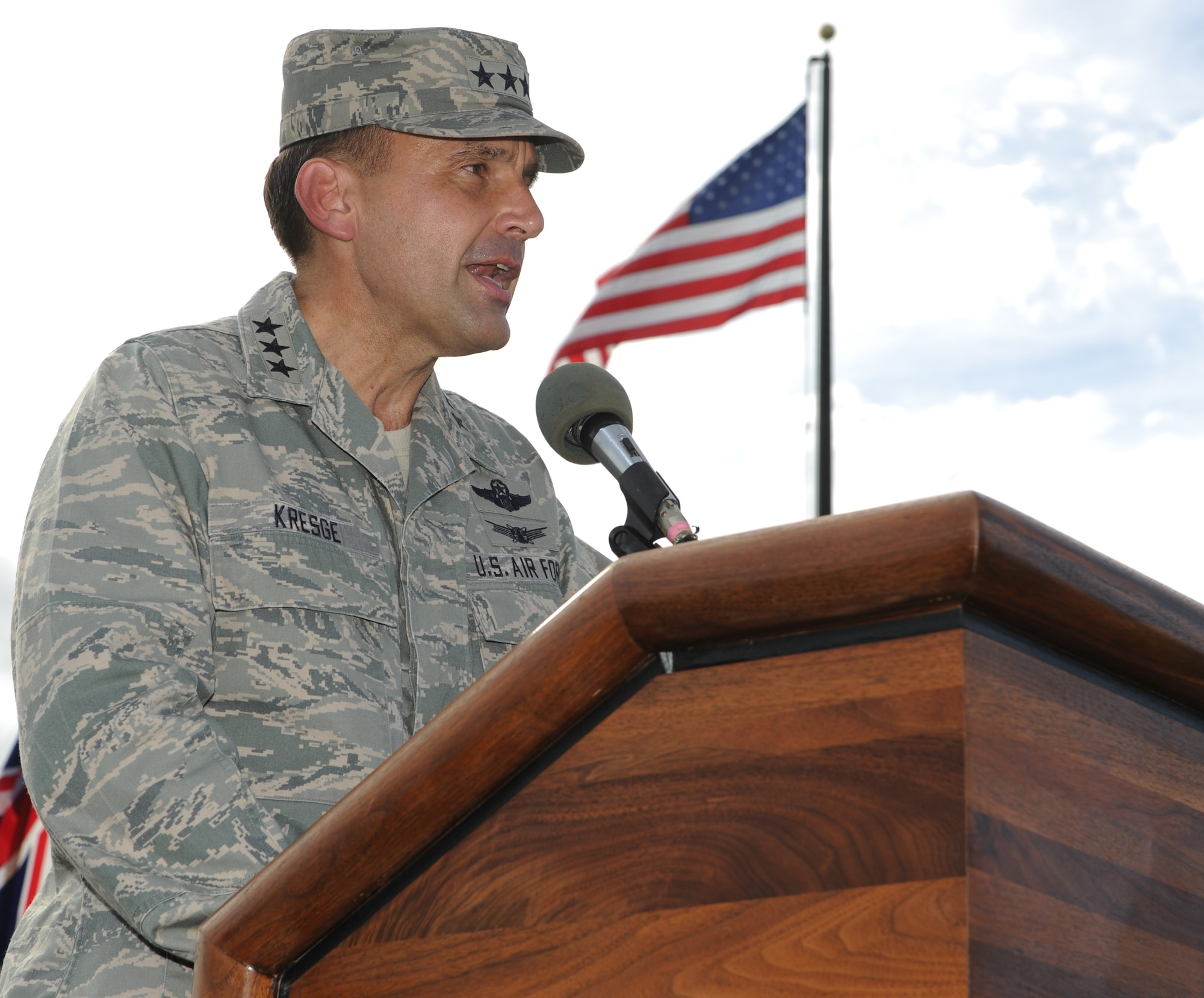 Lt. Gen. Stanley T. Kresge, former 13th Air Force commander, delivers a speech during the 13th Air Force inactivation ceremony Sept. 28, 2012, at Joint Base Pearl Harbor-Hickam, Hawaii. (U.S. Air Force photo/Staff Sgt. Nathan Allen)