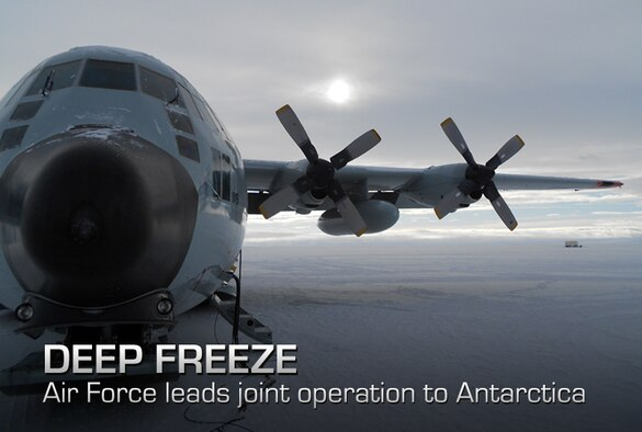 An LC-130 Hercules waits on the ice at McMurdo Station, Antarctica Nov. 21, 2011, after returning from a scheduled Operation Deep Freeze re-supply mission to Amundsen-Scott South Pole Station. Operation Deep Freeze provides airlift support to the National Science Foundation, which manages the United States Antarctic Program. (U.S. Air Force photo)