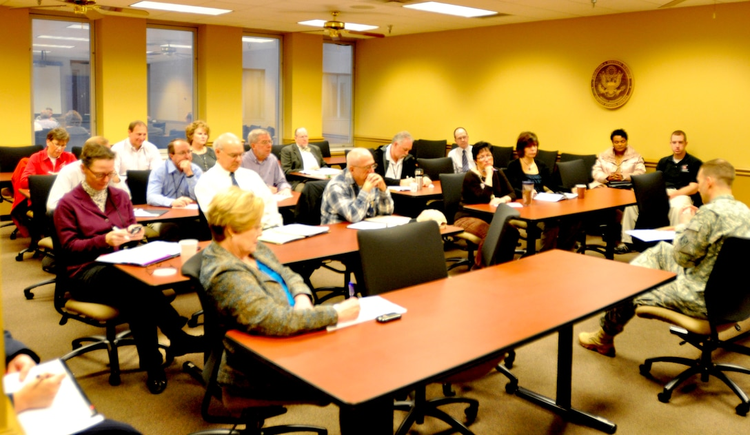 The U.S. Army Corps of Engineers Crisis Management Team meets Feb. 7, 2012 to participate in a table top exercise to exercise an earthquake scenario and review emergency plans. (USACE photo by David Wheeler)
