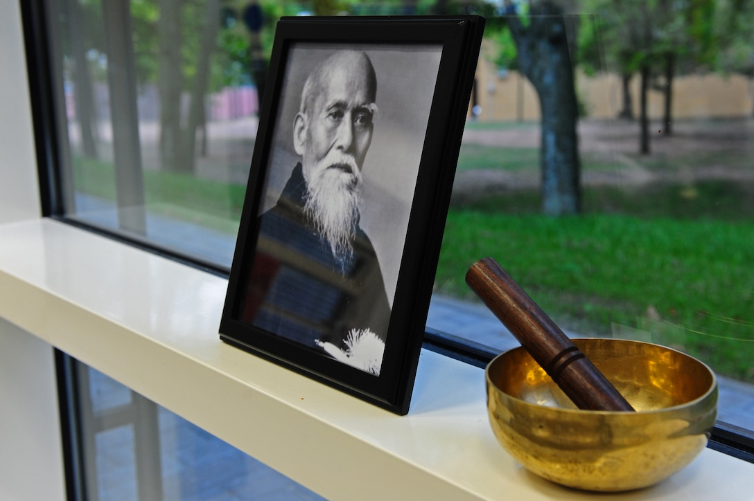 View of a photo of Morihei Ueshiba, the founder of Aikido, at the Youth Center on Ramstein Air Base, Germany, Sept. 11, 2012. The children participate in the Aikido class to learn self-defense techniques Tuesdays from 5:45 to 6:30p.m. and 6:30 to 7:15p.m. (U.S. Air Force photo/Airman 1st Class Holly Cook)