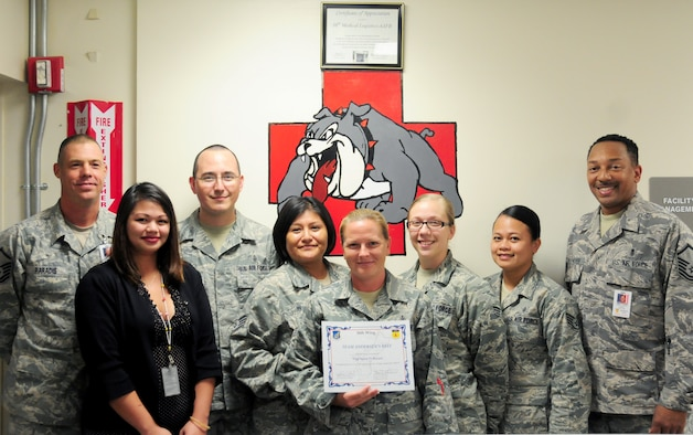 Tech. Sgt. Susie Bryant, 36th Medical Support Squadron medical acquisitions & customer service flight noncommissioned officer in charge, was awarded Team Andersen's Best Oct 4. Andersen's Best is a recognition program which highlights a top performer from the 36th Wing. Each week, supervisors nominate a member of their team for outstanding performance and the wing commander presents the selected Airman/civilian with an award. To nominate your Airman/civilian for Andersen's Best, contact your unit chief or superintendent explaining their accomplishments. (U.S. Air Force photo by Senior Airman Jeffrey Schultze/Released)