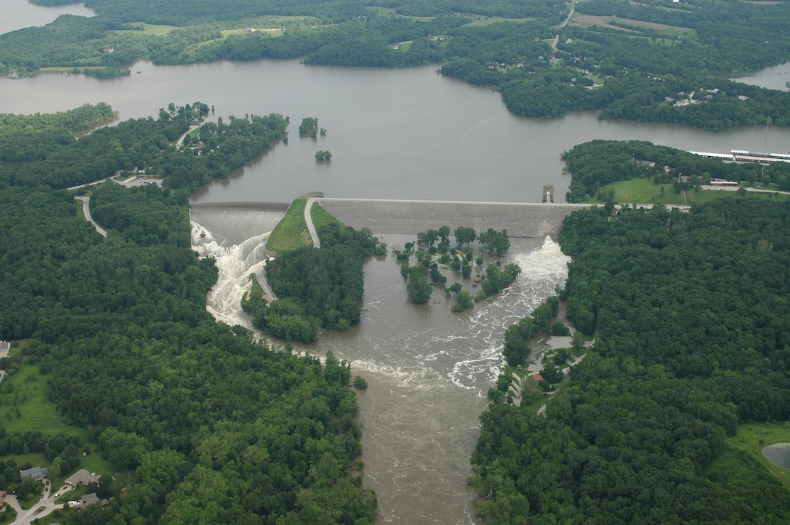 Flood of 2008 showing overflow at Coralville Dam.