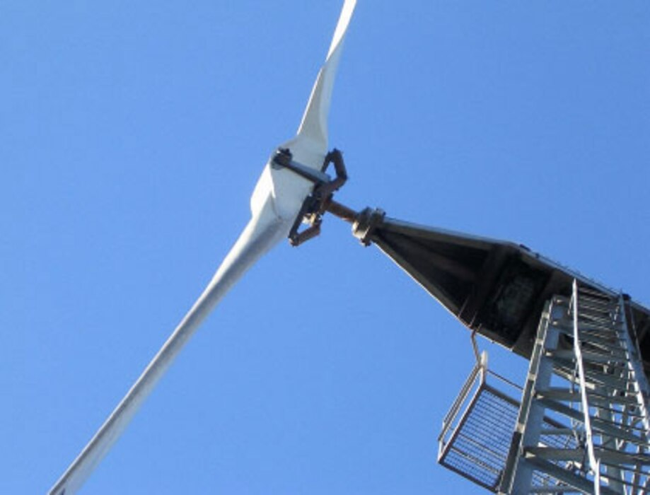 An 11-kilowatt wind turbine like this one will be installed at Black Butte Lake park, a U.S. Army Corps of Engineers Sacramento District recreational area near Orland, Calif.