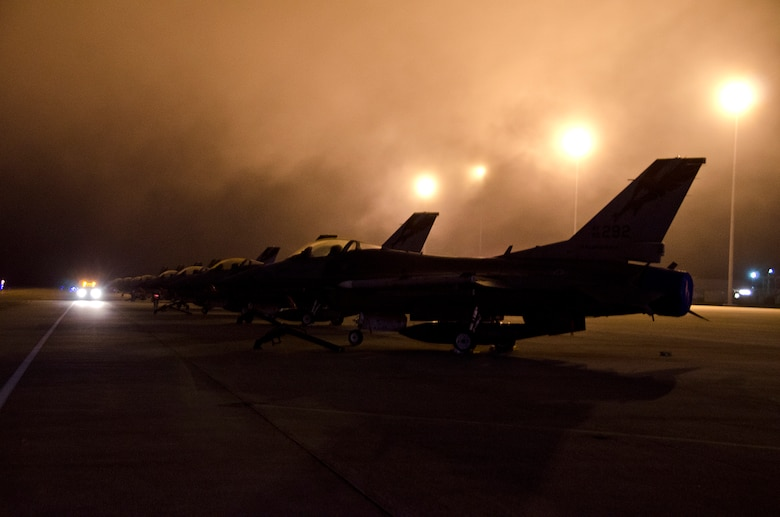 F-16C Fighting Falcons from the 144th Fighter Wing, California Air National Guard Fresno, on the flight line at Tyndall AFB, Florida before participateing in Combat Archer, October 9, 2012.( Air National Guard photo by Tech. Sgt. Charles Vaughn)