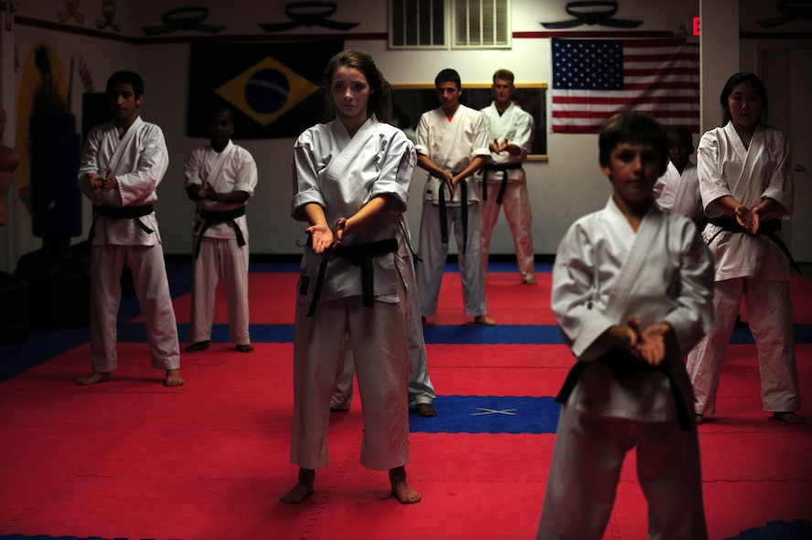 Students in a karate class