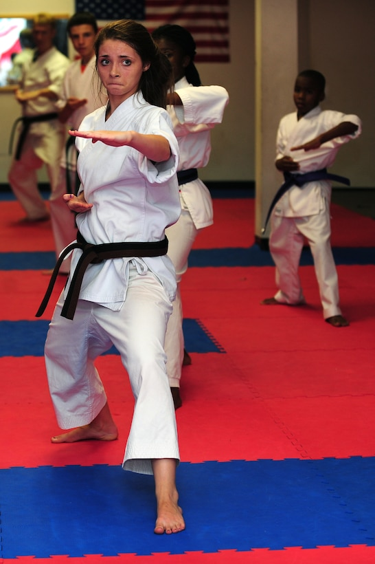 Aerial Vineyard, 15, performs kata during her karate practice in Goldsboro, N.C., Oct. 2, 2012. Aerial has practiced karate since 2008 and will test for her black belt in November. Aerieal is the daughter of Tech. Sgt. Michael Vineyard, 335th Aircraft Maintenance Unit flight line expeditor. (U.S. Air Force photo/Airman 1st Class Aubrey Robinson/Released)
