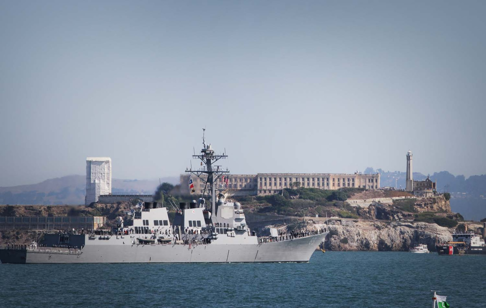 The U.S. Navy's USS Preble, an Arleigh Burke-class destroyer, cruises through the San Francisco Bay past Alcatraz Island, Oct. 6, 2012, during San Francisco Fleet Week 2012's Parade of Ships event. Nine sea vessels belonging to the U.S. Navy, Coast Guard, San Francisco Fire Department and the Canadian Navy entered the San Francisco Bay underneath the Golden Gate Bridge in a prestigious and ceremonial event – tradition to San Francisco Fleet Week.