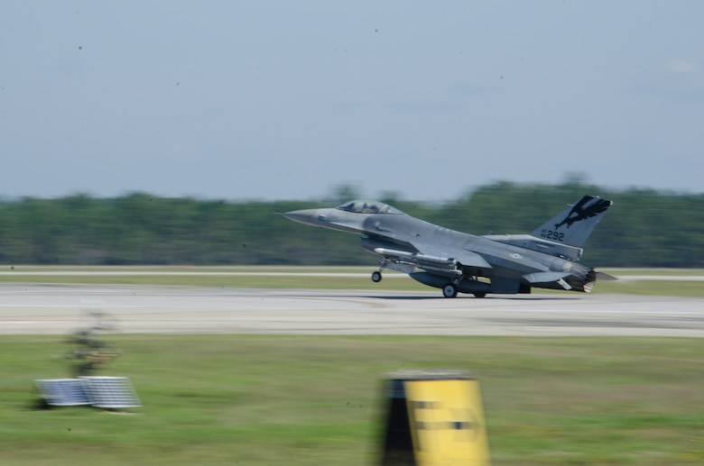 A 144th Fighter Wing, California Air National Guard, F-16 aircraft lands at Tyndall Air Force Base, Fla. October 10, 2012. The unit is in Florida to participate in Combat Archer for a two week deployment. The exercise allows pilots and crew of the unit to train and be evaluated with live munitions. (Air National Guard photo by Tech. Sgt. Charles Vaughn)