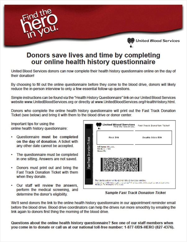 United Blood Services now features an online health history questionnaire.