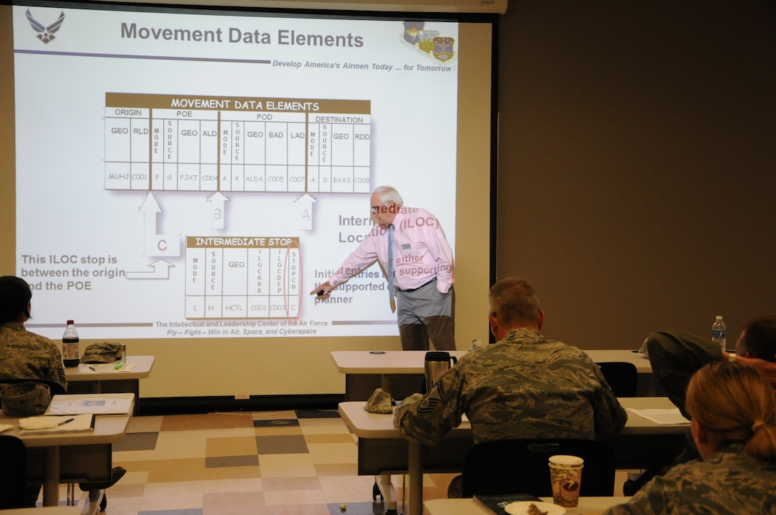 Instructor Bob Barthelmess discusses elements of a force package during the Contingency Wartime Planner Course at Battle Creek Air National Guard Base from Sept. 18-28, 2012. (U. S. Air National Guard Photos by Tech. Sgt. Alec Lloyd/Released)