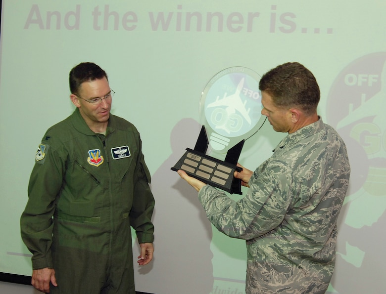 "In a Tinker Energy Steering Group meeting Sept. 19, Col. Steven Bleymaier, 72nd Air Base Wing and Tinker installation commander, emphasized the importance of Tinker reducing its energy consumption appetite. ""Off We Go"" is Tinker's energy reduction program, which this year featured a June through August competition among the major base organizations' headquarters buildings. During the meeting, Colonel Bleymaier, right, surprised the 552nd Air Control Wing with the first annual award. Col. Tom Engle, 552nd ACW vice commander, accepted the traveling trophy for the wing's 24 percent energy consumption reduction during the three-month period.  The Navy, which led for most of the contest, tied the 38th Cyberspace Engineering Group for second with 21 percent.  (Air Force photo by Margo Wright)"