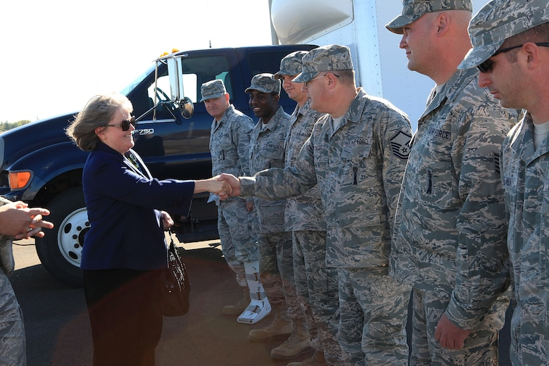 Holly Petraeus,  Servicemember Affairs Consumer Financial Protection Bureau assistant director; meets with 90th Missile Maintenance Squadron Airmen during her visit to Uniform-1 Oct. 3.