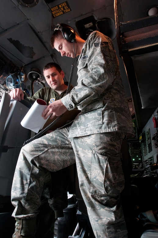 Senior Airman Braden Sikkema (foreground), an intelligence analyst with the 123rd Operations Group, has been named the Kentucky Air National Guard's 2012 Outstanding Airman of the Year in the Airman category.  Sikkema has deployed twice and was selected for several special assignments in the commonwealth in 2011. (U.S. Air Force photo by Master Sgt. Phil Speck)