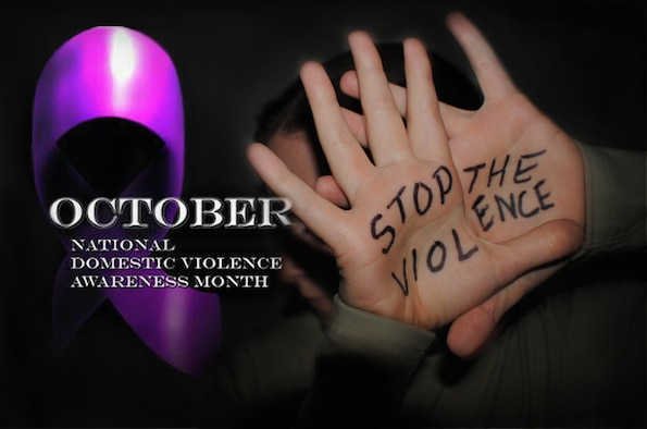 """Domestic Violence Awareness Month (DVAM) evolved from the """"Day of Unity"""" held in October 1981 and conceived by the National Coalition Against Domestic Violence. The intent was to connect advocates across the nation who were working to end violence against women and their children. In October 1987, the first Domestic Violence Awareness Month was observed. Victims in danger of domestic violence are advised to call 911 for help or the National Domestic Violence Hotline at 1-800-799-7233 or TTY. (U.S. Air Force photo illustration/Senior Airman Luis Loza Gutierrez)"""