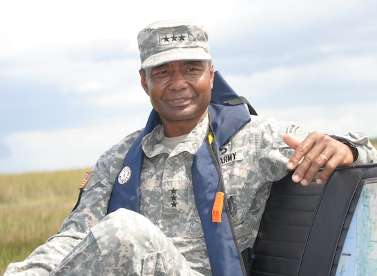 Lt. Gen. Thomas P. Bostick, commanding general of the U.S. Army Corps of Engineers, took an airboat ride through Everglades National Park after visiting the Tamiami Trail Modifications project in Miami-Dade County Oct. 10, 2012