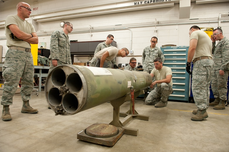The airmen of the 124th Munitions Flight trained Sunday with the SUU-25 Flair Dispenser in preparation of providing critical battlefield illumination to Operation Jaded Thunder in November at Kirtland Air Force Base, N.M.