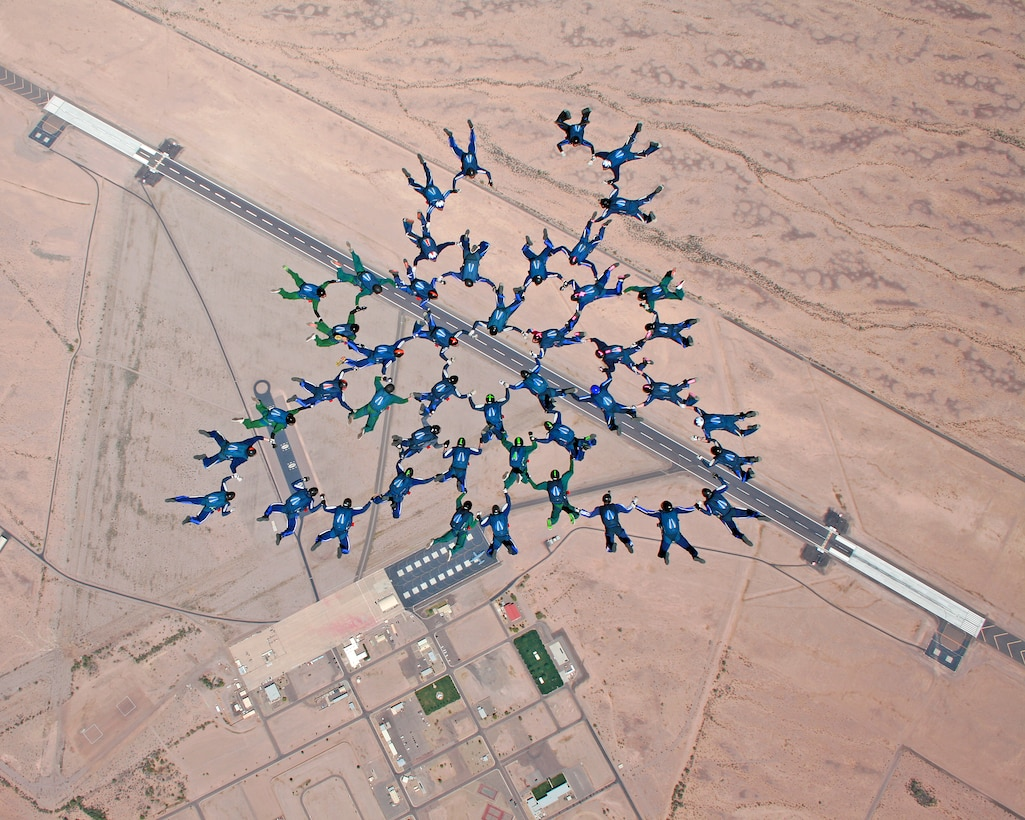 Air Force Academy cadets form up while attempting to break the largest formation collegiate record with a 46-person formation March 31, 2012, in Gila Bend, Ariz. The cadets broke their own record of a 41-person formation they set March 2008. (U.S. Air Force courtesy photo)