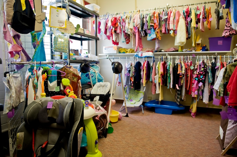 The Dyess Thrift Store, run by the Dyess Spouses' Club, provides Team Dyess a less expensive avenue for acquiring new and used items. The store, located on 4th Ave in building 6119, is open Tuesdays and Thursdays from 9 a.m. to 1:30 p.m. and the first Saturday of the month from 10 a.m. to 1 p.m. Anyone with a military or Department of Defense identification card is allowed to shop. (U.S. Air Force photo by Airman 1st Class Charles V. Rivezzo/ Released)