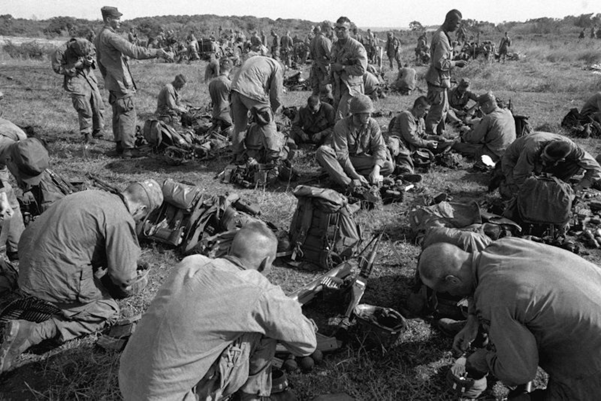 A group of U.S. Army Rangers gather their gear at Point Salines airfield during Operation Urgent Fury. In October 1983, 23rd Air Force participated in the seven-day operation that led to the successful rescue of Americans from Grenada. A 1st Special Operations Wing Combat Talon crew earned the Mackay Trophy and a Spectre crew earned the Lt. Gen. William H. Tunner Award for their efforts. (courtesy photo)