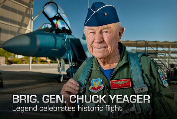 "Retired United States Air Force Brig. Gen. Charles E. ""Chuck"" Yeager prepares to board an F-15D Eagle from the 65th Aggressor Squadron Oct. 14, 2012, at Nellis Air Force Base, Nev. In a jet piloted by Capt. David Vincent, 65th AGRS pilot, Yeager is commemorating the 65th anniversary of his historic breaking of the sound barrier flight Oct. 14, 1947, in the Bell X-1 rocket research plane named ""Glamorous Glennis."" Yeager was awarded the prestigious Collier Trophy in 1948 for this landmark aeronautical achievement. (U.S. Air Force graphic)"