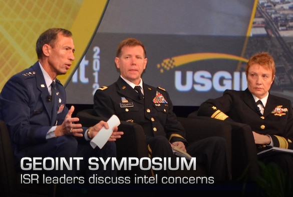 Lt. Gen. Larry James (left) addresses attendees at the 2012 GEOINT Symposium, Oct. 11 here. James, the Air Force deputy chief of Intelligence, Surveillance and Reconnaissance, was joined by Maj. Gen. Steve Fogarty (center), commanding general of U.S. Army Intelligence and Security Command; Rear Adm. Sandy Daniels (right), Senior Advisor for Space to the Deputy Chief of Naval Operations for Information Dominance and Phillip C. Chuboda (not pictured), assistant director of intelligence for the U.S. Marine Corps. (U.S. Air Force photo by Susan A. Romano)