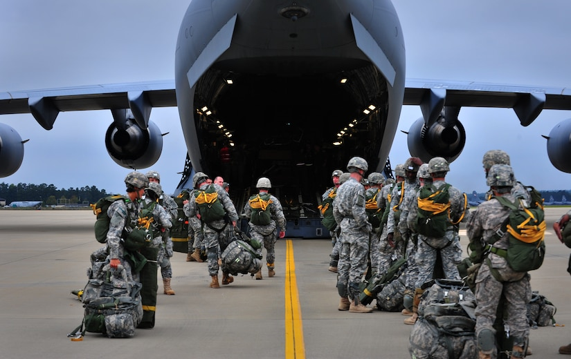U.S. Army soldiers from the 82nd Airborne Division, Fort Bragg, N.C., board a C-17A Globemaster III prior to a personnel drop during Joint Operational Access Exercise, Oct. 9, 2012. JOAX is a two-week exercise to prepare Air Force and Army service members to respond to worldwide crisis and contingencies. (U.S. Air Force photo/ Staff Sgt. Elizabeth Rissmiller)