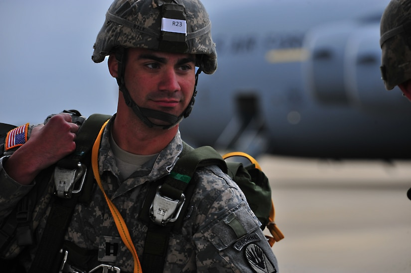 A U.S. Army soldier from the 82nd Airborne Division, Fort Bragg, N.C., boards a C-17A Globemaster III prior to a personnel drop during a Joint Operational Access Exercise, Oct. 9, 2012. JOAX is a two-week exercise to prepare Air Force and Army service members to respond to worldwide crisis and contingencies. (U.S. Air Force photo/ Staff Sgt. Elizabeth Rissmiller)