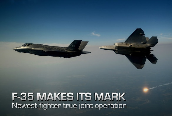 An F-35A Lightning II joint strike fighter from the 33rd Fighter Wing at Eglin Air Force Base, Fla., and an F-22A Raptor from the 43rd Fighter Squadron at Tyndall Air Force Base, Fla., soar over the Emerald Coast Sept. 19, 2012. This was the first time the two fifth-generation fighters have flown together for the Air Force. (U.S. Air Force photo/Master Sgt. Jeremy T. Lock)