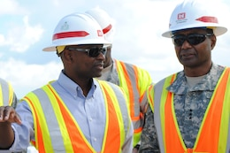 Tim Brown, U.S. Army Corps of Engineers Jacksonville District project manager, discusses the Tamiami Trail Modifications project with Lt. Gen. Thomas P. Bostick, commanding general of the U.S. Army Corps of Engineers, Oct. 10, 2012. Once completed, the project will allow increased water flows into Everglades National Park.
