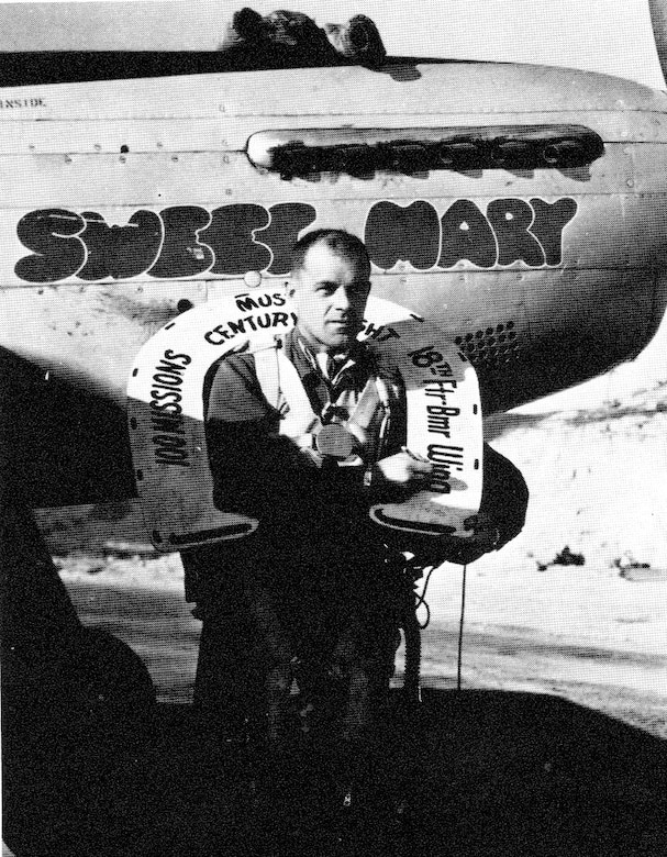Ore ANG pilot Wallace Parks attained the century mark of 100 combat missions flying the F-51 with the 39th Fighter Interceptor Squadron, and then flew one more for a total of 101.