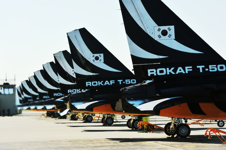 The Black Eagles prepare for takeoff on the Osan Air Base flight line Oct. 18, 2012. The team can perform up to 30 different types of acrobatics using T-50B training aircraft with supersonic capabilities. (U.S. Air Force photo/Staff Sgt. Stefanie Torres)