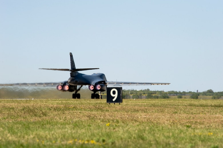A B-1 Bomber from the 9th Bomb Squadron takes-off Oct. 17, 2012, during an Operational Readiness Exercise at Dyess Air Force Base, Texas. For three days Team Dyess was tested on their ability to deploy personnel and assets to a deployed location in support of combatant commanders during an ORE Oct. 15-17. During this exercise, known as a Phase I ORE, Dyess was evaluated on the wing's ability to prepare and mobilize from peacetime readiness to a wartime posture on short notice. Areas evaluated included command and control, deployment processing, employment readiness, information operations and force protection. (U.S. Air Force photo by Airman 1st Class Damon Kasberg/ Released)