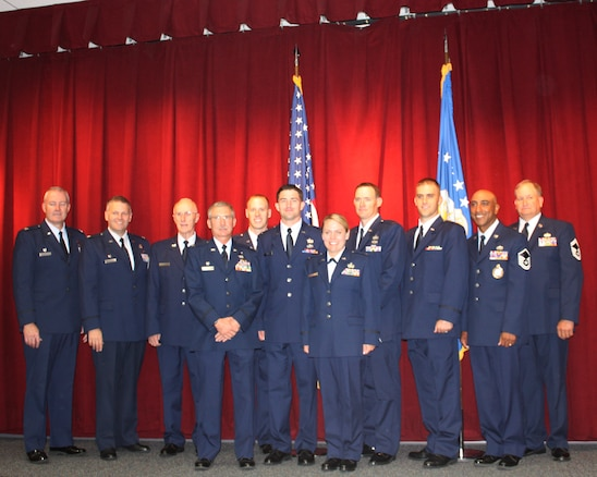 The Academy of Military Science Class 0-2013-1, including five members of the UTANG, graduated October 5, 2012.  UTANG members from left to right, Steven R. Dillingham, 101st Information Operations Flight Public Affairs Officer; Brian S. Moss, 151st Air Refueling Wing Public Affairs Officer; Amy C. Bocage, 151st Communications Flight Commander; Dustin J. Williams, 191 Air Refueling Squadron Intelligence Analyst Officer; Adam C. Barley, 130th Engineering Installation Squadron Support Operations Officer.
