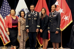 2012 U.S. Army Award Winners at the Women of Color STEM Conference held October 11-13, 2012 in Dallas, Texas. From left to right - Dr. Victoria Dixon, Director of Human Relations/Equal Opportunity Programs for the U.S. Army Test and Evaluation Command in Alexandria, VA; Jovan Johnson-Griffin, Senior Program Analyst for the U.S. Army Corps of Engineers New Orleans District; Lieutenant General Thomas Bostick, Commanding General for the U.S. Army Corps Engineers; Hokulii Tamayori, Architectural Designer for the U.S. Army Corps of Engineers Honolulu District; and Major Erica Johnson, Associate Program Director for SAUSHEC Internal Medicine Residency and Infectious Disease Fellowship Programs at the San Antonio Military Medical Center. Not Pictured: Tamara Murphy, Civil Engineer for the U.S. Army Corps of Engineers Wilmington District; Master Sergeant Faith Alexander, Equal Opportunity Advisor/Facilitator/Platform Instructor for the Defense Equal Opportunity Management Institute.