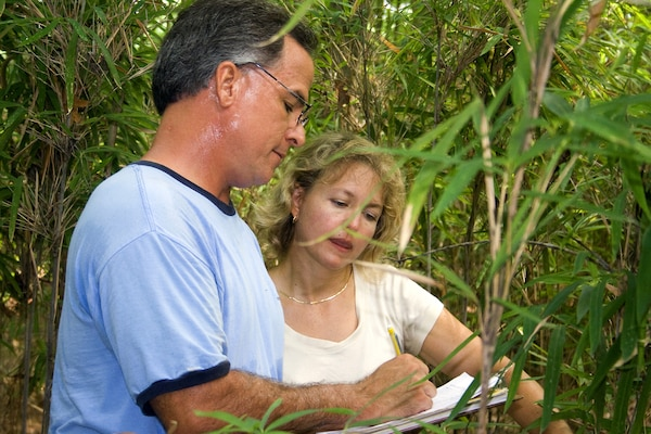"CHESAPEAKE, Va. -- Norfolk District regulators Dave Knepper and Audrey Cotnoir compare notes during a wetland delineation, which is the process of determining the boundary between wetlands and uplands (or non-wetlands) through examination of vegetation, soils and hydrology. The District's 52-person regulatory staff processes more than 3,000 federal permit requests a year and covers all of the Com.onwealth's 42,767 square miles. The U.S. Army Corps of Engineers Regulatory Program gets its federal permitting authority from three sources: the Rivers and Harbors Appropriation Act of 1899 (the oldest federal environmental law in the United States), the Federal Water Pollution Control Act (often referred to as the ""Clean Water Act"") and the 1972 Marine Protection, Research and Sanctuaries Act. U.S. Army photo/Mark W. Haviland."
