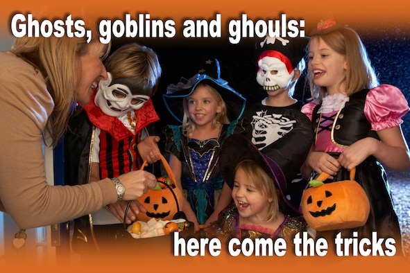 Halloween is a fun time to spend with family and friends. Enjoy it, and watch out for those ghosts, goblins and ghouls. (U.S. Air Force graphic/Keith Wright)