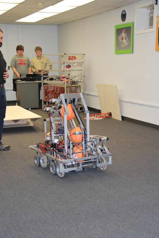 Robotics students put their robot through its paces in preparation for an upcoming competition. With the help of ERDC mentors, students build, operate and compete their robot in events across the country.