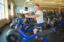 U.S. Air Force personnel enjoying the Tyndall Fitness Center.