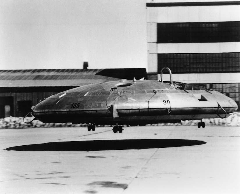 Before it's free-flight tests, the Avro Canada VZ-9AV Avrocar was flown with tethers for safety reasons, at the National Aeronautics and Space Administration's Ames Research Center at Moffett Field, Calif.  Wind-tunnel tests proved the aircraft had insufficient control for high speed flight and was aerodynamically unstable.  (U.S. Air Force photo)
