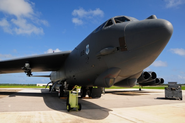 ANDERSEN AIR FORCE BASE, Guam - A B-52 Stratofortress from the 96th Expeditionary Bomb Squadron sits as a static display for a community relations tour on the flightline here, Oct. 12. With 12 aircraft and over 80 aviators strong, the 96th EBS supports the U.S. Pacific Command's Continuous Bomber Presence and provides persistent airpower to large, multinational military exercises in the Asia-Pacific region. (U.S. Air Force photo by Airman 1st Class Marianique Santos/Released)