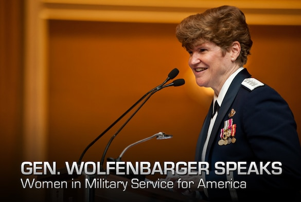 Gen. Janet C. Wolfenbarger gives the keynote address at the 15th anniversary celebration of the Women in Military Service for America Memorial in Washington, D.C., Oct. 19, 2012. Wolfenbarger is the commander of Air Force Material Command and she is the first four-star general in the Air Force. (U.S. Air Force photo/Senior Airman Andrew Lee)