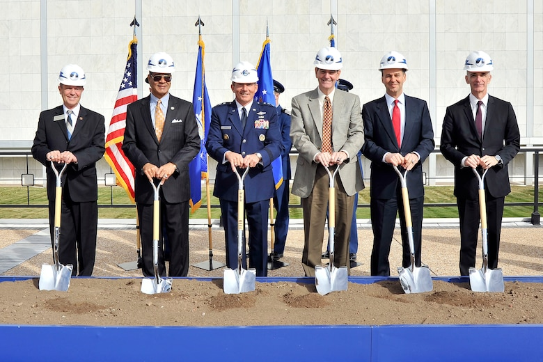 Air Force Academy officials break ground for the Center for Character and Leadership Development facility Oct. 19, 2012. The new, $40 million facility will be located between Arnold Hall and the Cadet Chapel. Construction is projected to take 22 months. (U.S. Air Force photo/Liz Copan)