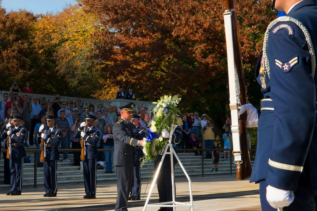 Czech Air Forces Commander Brig. Gen. Jiri Verner lays a wreath Oct. 23 at the Tomb of the Unknowns, Arlington National Cemetery, Va. The air chiefs are attending the Air Force-hosted 2012 NATO Air Chiefs Conference in Washington, D.C. (U.S. Air Force photo by Senior Airman Tabitha N. Haynes)